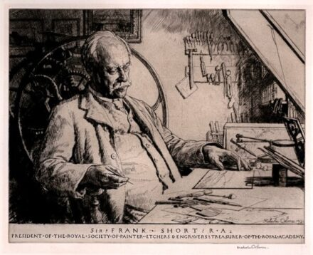 Frank Short (2nd RE President) drawn and printed by Malcolm Osborne (3rd RE President) in 1931.