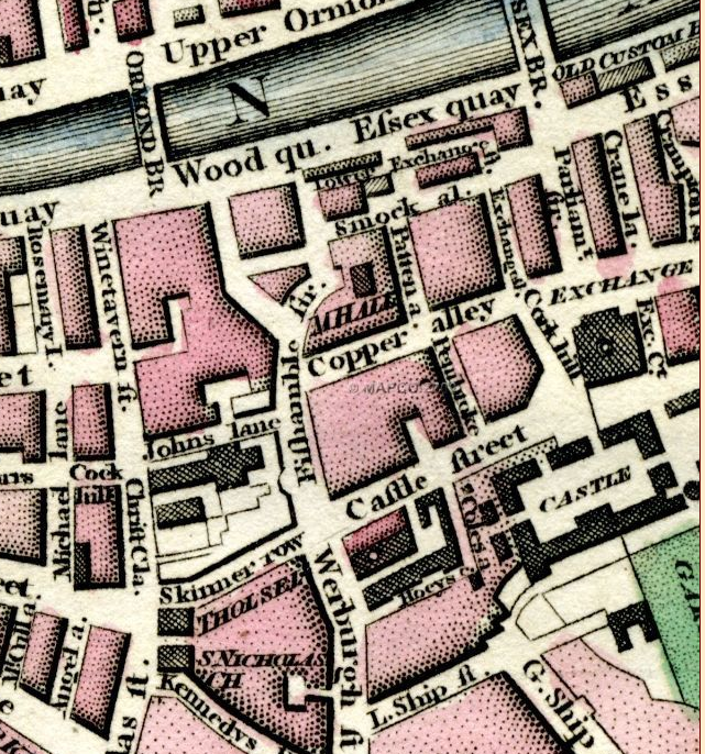 detail from a 1798 map of Dublin showing Smock Alley Theatre and the Musick Hall