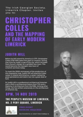 IGS Limerick: Christopher Colles And The Mapping Of Early Modern Limerick with Judith Hill